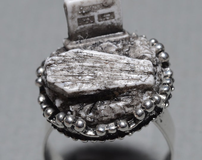 Creepy Cute Miniature Gothic Ring-  Jewelry - Old  Victorian Cemetery with Tombstone and Coffin  - Zombie  Frankenstein