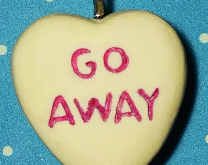 Candy Heart Message pendant Necklace  - Go Away- Creepy cute Yellow