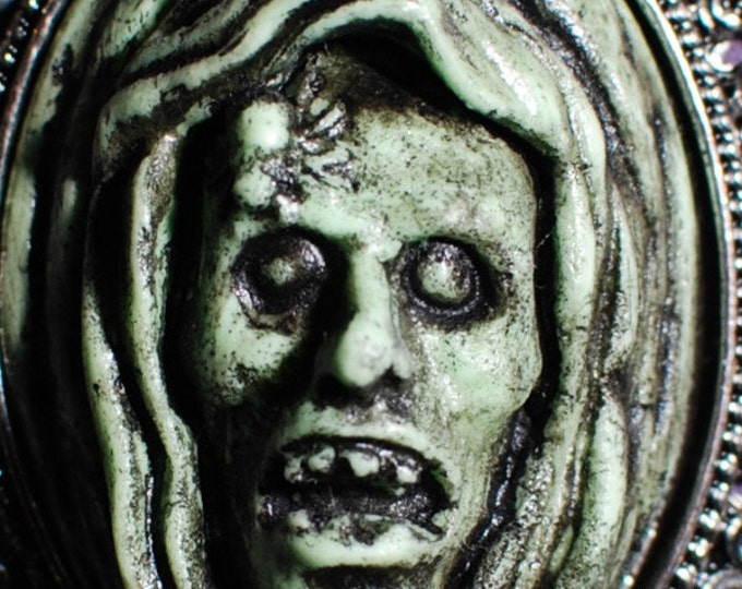 Zombie Cameo Halloween Jewelry -  The Ghoul - Creepy Gothic Cameo Necklace-Deadly Nightshade Green