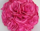 8 inch Fuschia Pink Rose Kissing Pomander Ball Wedding Decoration