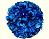 8 inch Royal Blue Rose Kissing Pomander Ball Wedding Decoration