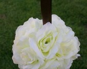 4 inch Ivory White Rose Kissing Pomander Ball Wedding Decoration