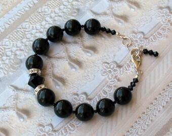 Black Swarovski Pearl and Crystal Bracelet