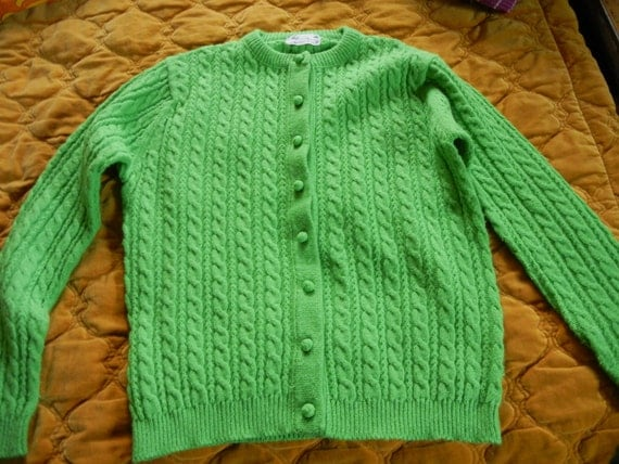 RESERVED for Rony  SALE 5.00 OFF  Lime green cardigan sweater