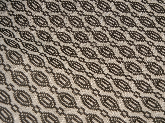 "vintage 60s geometric black white polyester fabric 59"" x 100"""