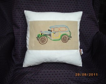 Vintage Hand Embroidery Car