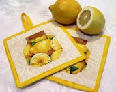Potholders / Pot Holders - quilted lemon-filled canning jar design- Cooking gifts and kitchen ware lemon kitchen decor