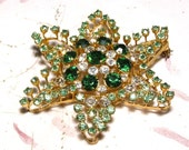 Reserved for KathyB - Green Rhinestone Star Brooch Made in Austria