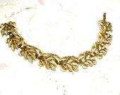 Gold Tone Leaf Bracelet From Trifari
