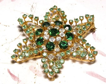 Green Rhinestone Star Brooch Made in Austria