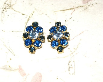 Three Tone Blue Rhinestone Earrings Made in Austria Brass