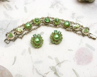 Green Shabby Chic Floral Rhinestone and Faux Pearl Demi Bracelet and Earring Set