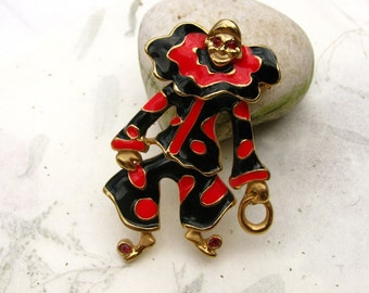 Red and Black Enamel Vintage Articulated Clown Jointed Brooch Pin
