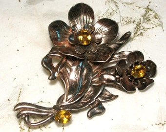 Sterling Silver Flower Brooch with Yellow Rhinestones