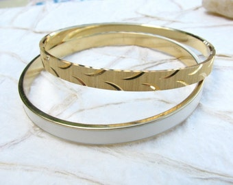 Vintage Gold Tone and Cream Enamel Trifari Bangles