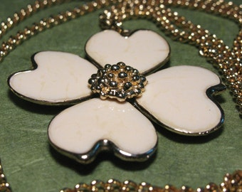 Vintage Cream Enamel Dogwood Flower Gold Tone Necklace