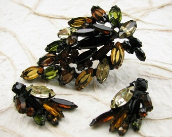 Japanned Leaf Brooch Earring Demi Parure Fall Colors