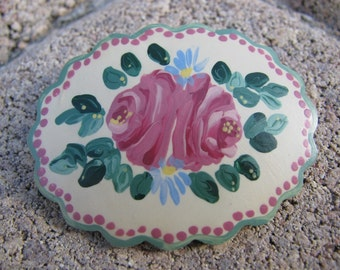 Hand Painted Vintage Wooden Flower Brooch