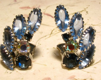 Blue Art Glass and Rhinestone Silver Tone Clip On Earrings