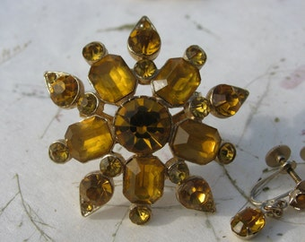 Vintage Coro Married Yellow Rhinestone Brooch with Coro Yellow Rhinestone Earrings