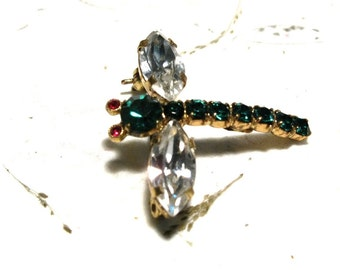Little Rhinestone Dragonfly Brooch Vintage Made in Austria