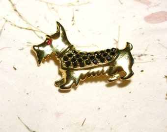 Scottie Brooch Pin Gold Tone with Black Rhinestones and Red Rhinestone Eye