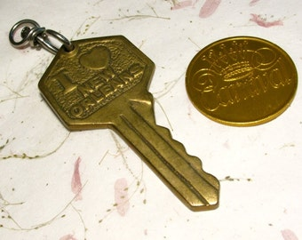 New Orleans Vintage Brass Key Fob and Carnival Commemorative Coin