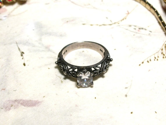 Vintage Rhinestone 925 Silver Ring With Marcasite Size 6