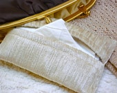 FREE SHIPPING-Chic and Classic Upcycled Shaggy, Shiny and Silky Beige Fabric Tissue Holder