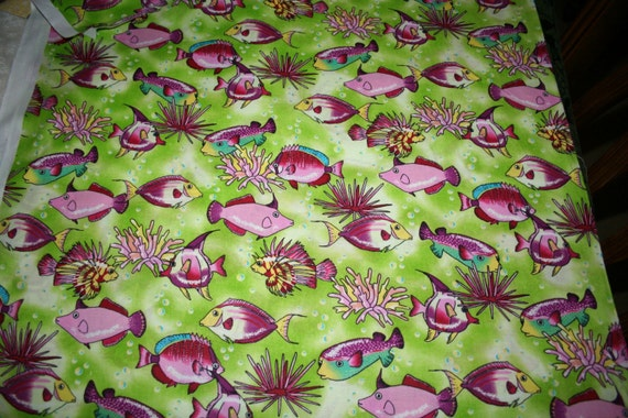 Fabric - Hot Pink Fish in Lime green water