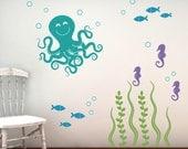 Wall Decal Set, Sea Ocean Friends, Nursery Wall Decals, Vinyl Decals, Childrens Wall Decals