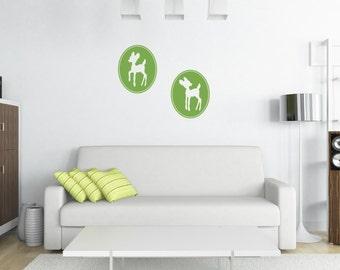 Framed Deer Silhouettes Vinyl Wall Decal, Fawn Vinyl Decals, Childrens Wall Art, Nursery Wall Decals