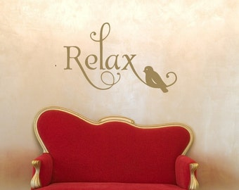 Relax Wall Decal, Bathroom Wall Decal, Bathroom Wall Decor, Bedroom Wall Decal