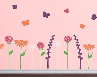 Butterfly Flower Garden Wall Decals - Girls Bedroom Nursery Children - Flower Garden Vinyl Decals
