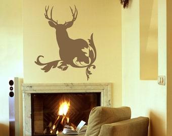 Deer Wall Decal, Rustic Home Decor, Deer Antler Wall Decals, Hunting Wall Decal, Antler Vinyl Decal