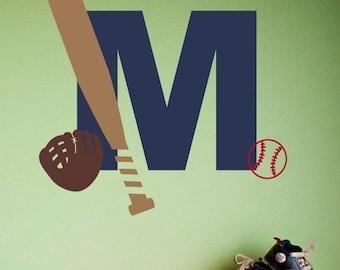 Baseball Monogram Wall Decal - Sport Name Decal - Baseball Decor - Nursery Wall Decal