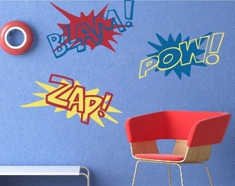 Super Hero City Kids Wall Decal Boys Room Decal - Superhero wall decals application