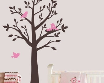 Tree with birds and nest Vinyl Wall Decal kids room and nursery