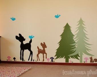 Tree Wall Decal Set, Deer Wall Decals, Woodland Nursery Decals, Tree Vinyl Decals, Kids Bedroom