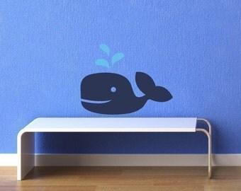 Maxie D. Whale Vinyl Wall Decal, Nautical Nursery Wall Decal, Boys Bedroom, Sea Ocean Friends