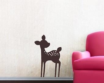 Fawn Vinyl Wall Decal - Nursery Baby Girl Boy Children - Nursery Wall Decal - Deer Wall Decal