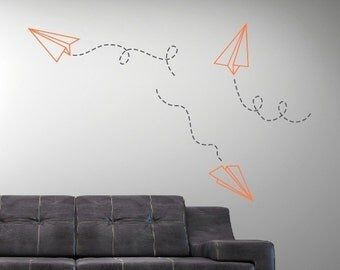 Paper Airplane Vinyl Wall Decals, Paper Plane Wall Decal, Plane Decal, Children Wall Decal, Boy Bedroom Decor, Boy Wall Decals