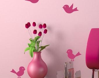 Bird Wall Decals - Set of 4, Girls Bedroom, Nursery Wall Decals, Baby Nursery, Bird Decals