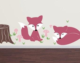 Fox Wall Decal Set - Children Nursery Boy Girl Vinyl Decals - Large Set