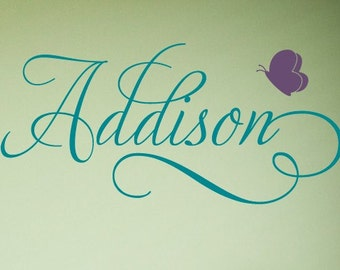 Swirly Custom Butterfly Name Vinyl Wall Decal, Childrens Wall Decal, Butterfly Nursery