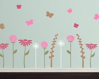 Butterfly Flower Garden Wall Decal Set - Girls Bedroom Nursery Children Vinyl Decals