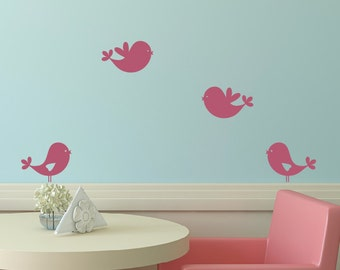 Sweet Bird Wall Decals, Bird Wall Decals, Baby Girl Nursery, Childrens Wall Decals, Girl Bedroom Decor
