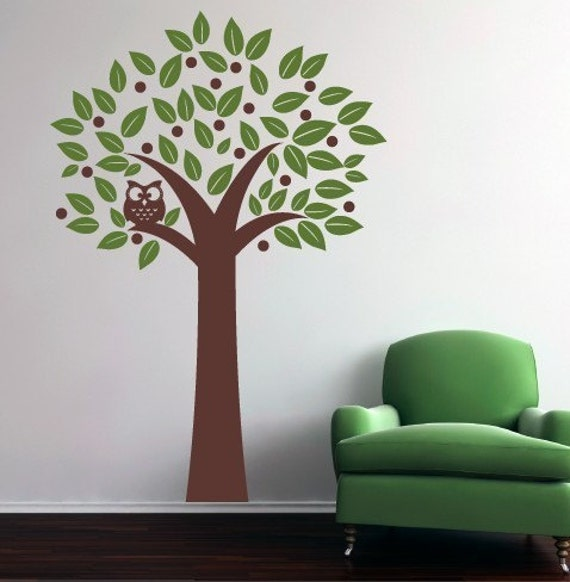 owl in a tree vinyl wall decal by tweetheartwallart on etsy