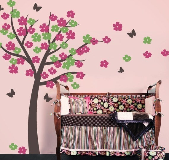 Butterfly Tree Wall Decal - Nursery Tree Decal - Baby Wall Decal - Butterfly Wall Stickers - Tree Mural for Nurseries