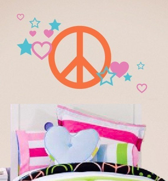 Peace Sign Wall Decal - Heart Wall Decal - Star Wall Decal - Teen Bedroom Decor - Children Wall Decal